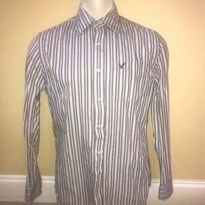 American Eagle Blue & Brown Button Down Shirt Med